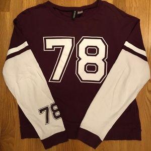 H&M #78 Maroon/White Jersey Crewneck Sweater